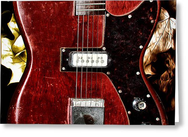 The Red Guitar Blues Greeting Card by Bill Cannon