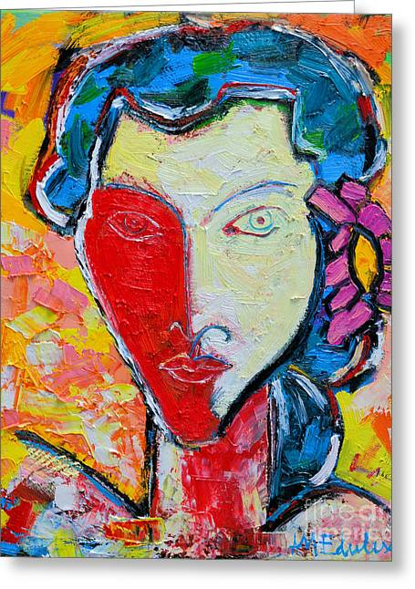 Self-portrait Greeting Cards - The Red Half Expressionist Girl Portrait  Greeting Card by Ana Maria Edulescu