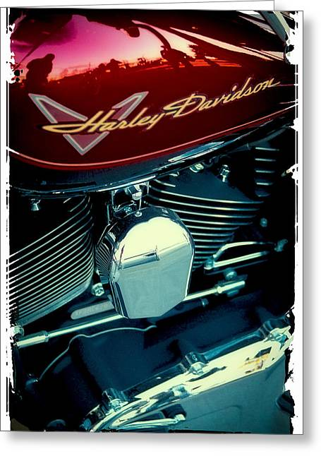Handle Bar Greeting Cards - The Red Harley Greeting Card by David Patterson