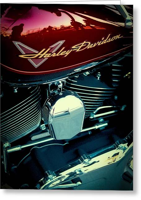 Handle Bar Greeting Cards - The Red Harley II Greeting Card by David Patterson