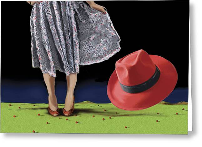 Fedora Greeting Cards - The Red Hat, 2008 Greeting Card by Marjorie Weiss
