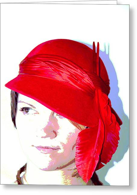 The Red Hat II Greeting Card by  Andrea Lazar