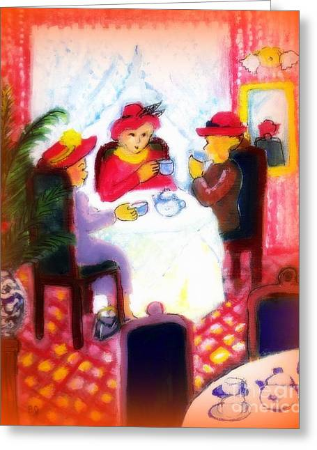 Gathering Greeting Cards - The Red Hat Ladies Greeting Card by Barbara LeMaster