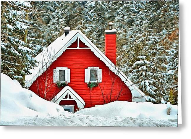 White Frame House Digital Greeting Cards - The red house in the snow 1 Greeting Card by Nathalie Duhaime