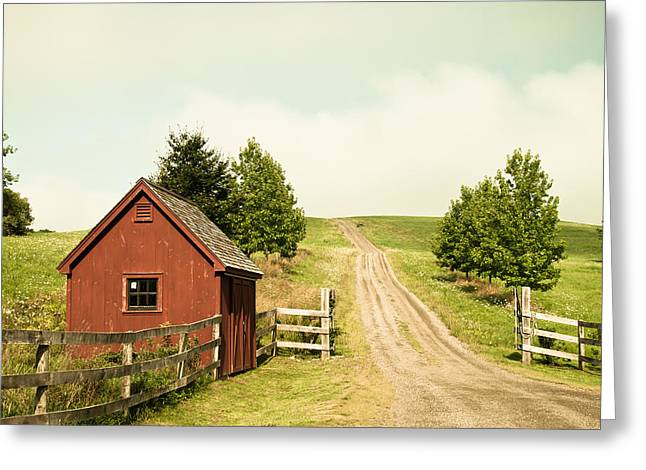 Lee Costa Greeting Cards - The Red House Greeting Card by Lee Costa