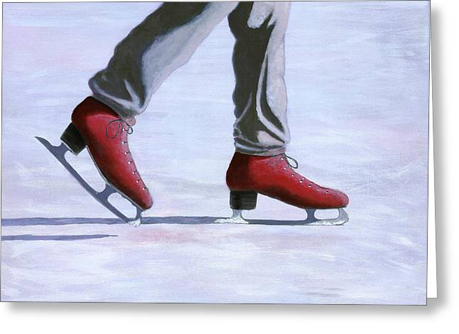 Snowy Day Paintings Greeting Cards - The Red Ice Skates Greeting Card by Karyn Robinson