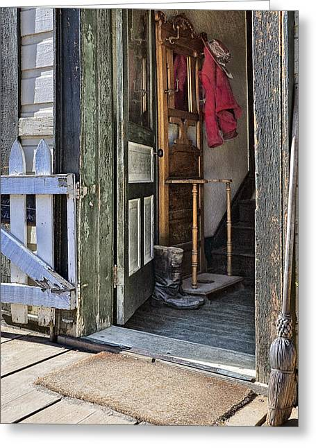 Barkerville Greeting Cards - The Red Knit Greeting Card by Ed Hall