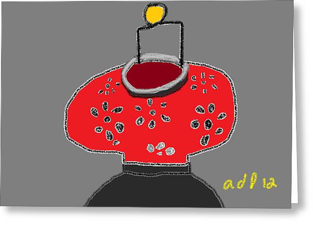 Cut-outs Drawings Greeting Cards - The Red Lantern Greeting Card by Anita Dale Livaditis