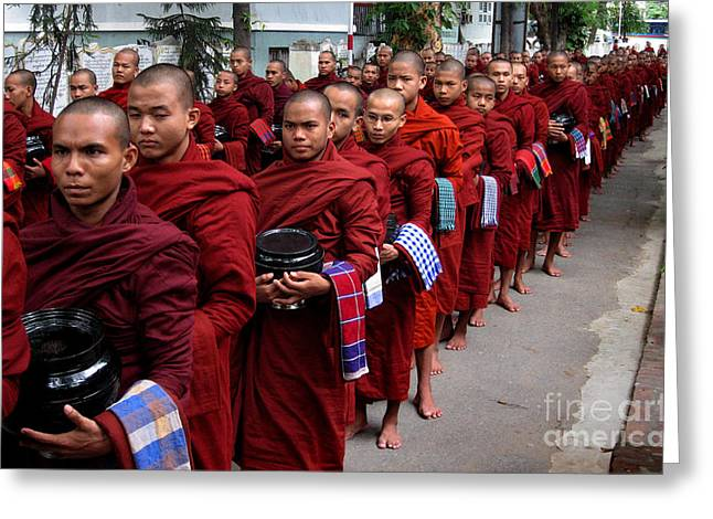 Grey Scale Greeting Cards - The red line of buddhist monks Greeting Card by RicardMN Photography