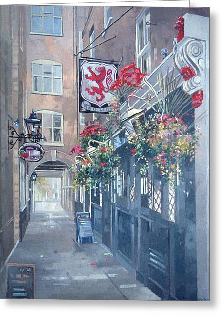 Passageways Greeting Cards - The Red Lion, Crown Passage, St. Jamess, London Oil On Canvas Greeting Card by Peter Miller