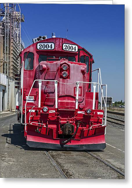 Keyes Greeting Cards - The Red Locomotive II Greeting Card by Jim Thompson