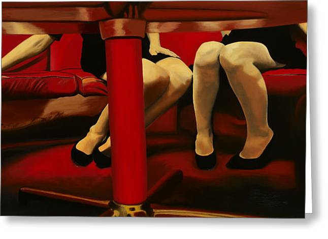 Lounge Paintings Greeting Cards - The Red Lounge Greeting Card by Marcella Lassen