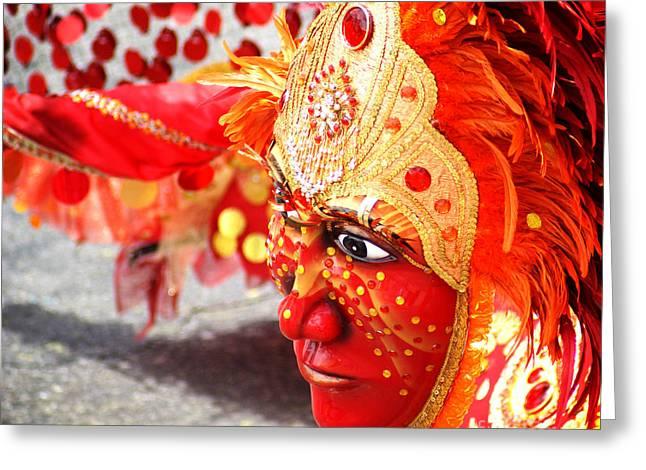 Eyelash Greeting Cards - The Red Mask Greeting Card by Yuliana Giron