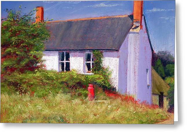 Country Cottage Greeting Cards - The Red Milk Churn, 2003 Pastel On Paper Greeting Card by Anthony Rule