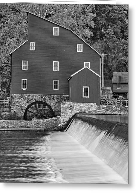 Red Mill Historic Village Greeting Cards - The Red Mill At Clinton BW Greeting Card by Susan Candelario