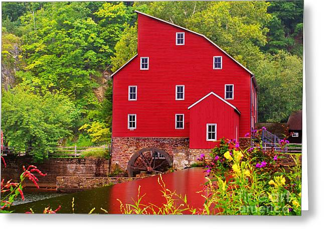 Red Mill Historic Village Greeting Cards - The Red Mill Greeting Card by Nick Zelinsky