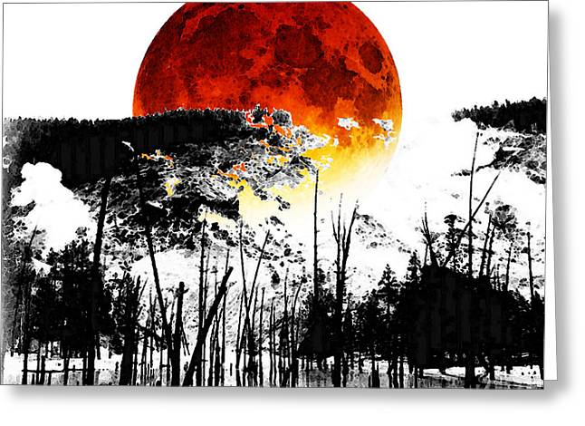 Red And Black Greeting Cards - The Red Moon - Landscape Art By Sharon Cummings Greeting Card by Sharon Cummings