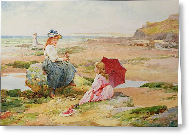 Gossiping Greeting Cards - The Red Parasol Greeting Card by Alfred Glendening Jr