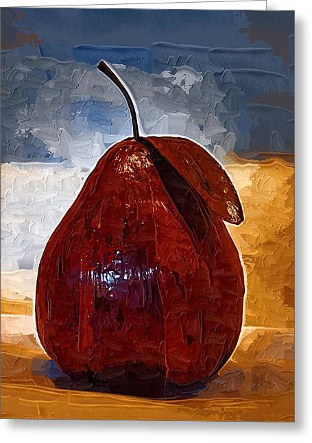 Paper Mache Greeting Cards - The Red Pear Greeting Card by Kirt Tisdale