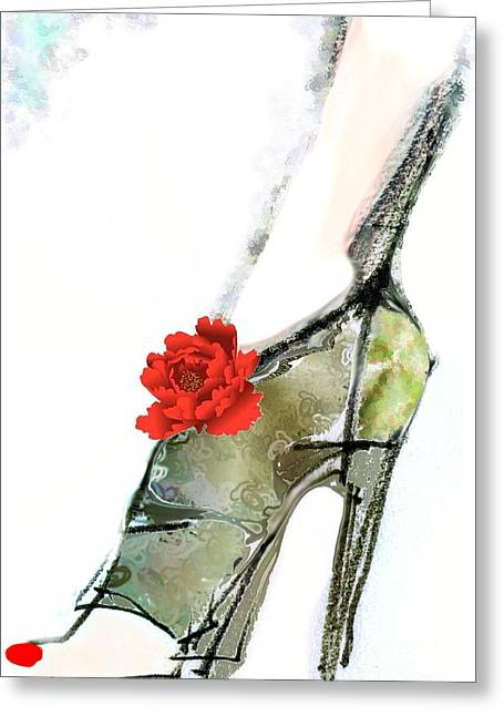 The Red Peony Shoe Greeting Card by Carolyn Weltman