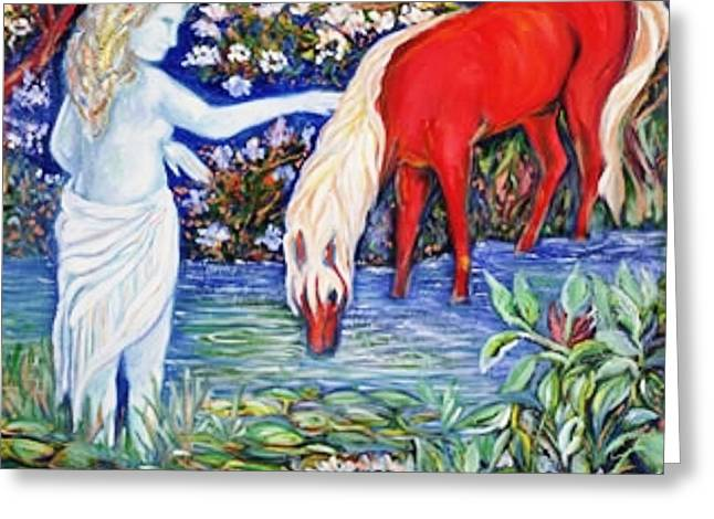 Lakes Sculptures Greeting Cards - The RED PONY   Art Deco Greeting Card by Gunter  Hortz