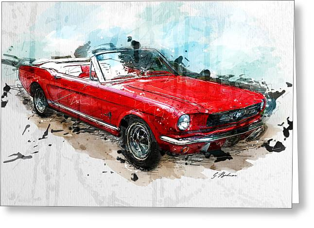 Car Prints Greeting Cards - The Red Pony Greeting Card by Gary Bodnar