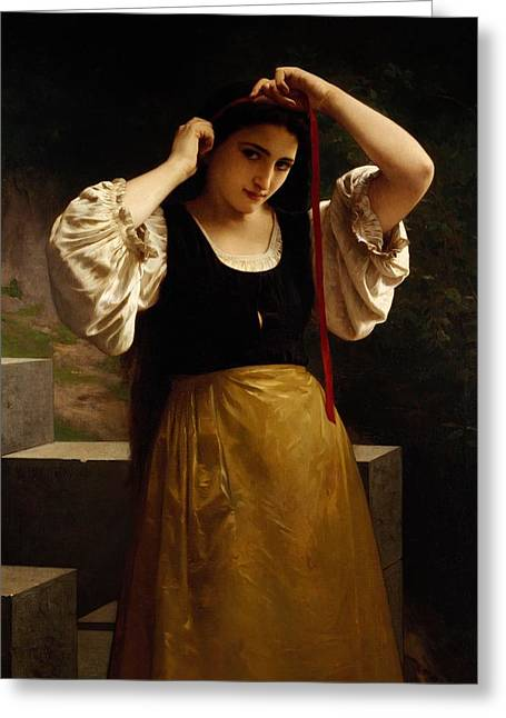 Cuff Greeting Cards - The Red Ribbon Greeting Card by William Adolphe Bouguereau