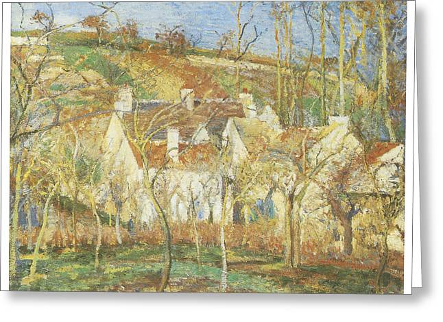 The Red Roofs Corner of a village Winter Greeting Card by Camille Pissarro