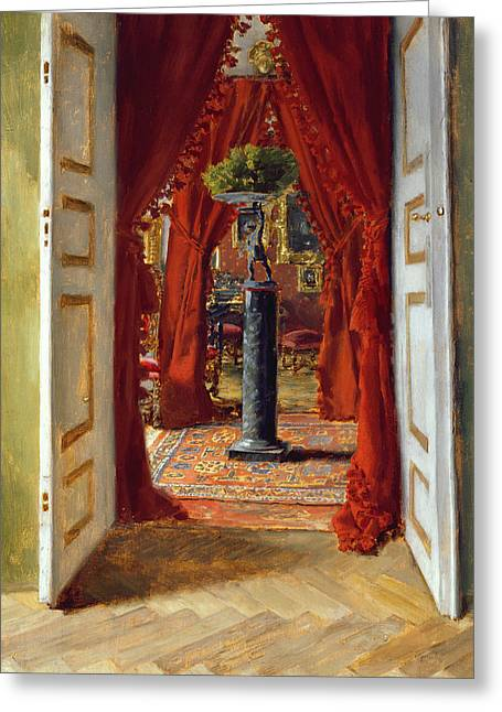 Open Door Greeting Cards - The Red Room Greeting Card by Albert von Keller