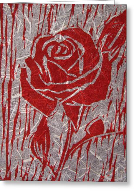 Linoleum Block Print Reliefs Greeting Cards - The Red Rose Greeting Card by Marita McVeigh