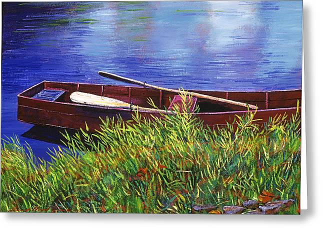 Blue Grass Greeting Cards - The Red Rowboat Greeting Card by David Lloyd Glover