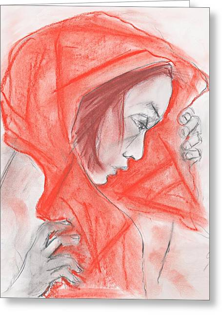 Scarf Pastels Greeting Cards - The red scarf Greeting Card by Mary Armstrong