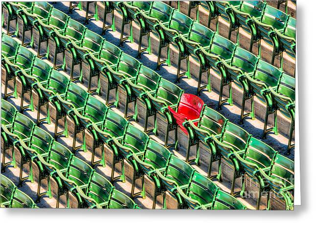 Grandstands Greeting Cards - The Red Seat at Fenway Park I Greeting Card by Clarence Holmes