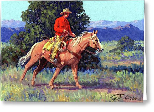 Chaps Greeting Cards - The Red Shirt Greeting Card by Randy Follis