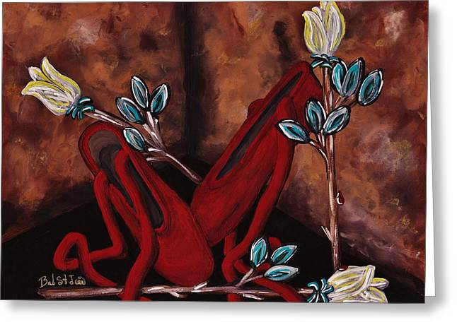 The Red Shoes Greeting Card by Barbara St Jean