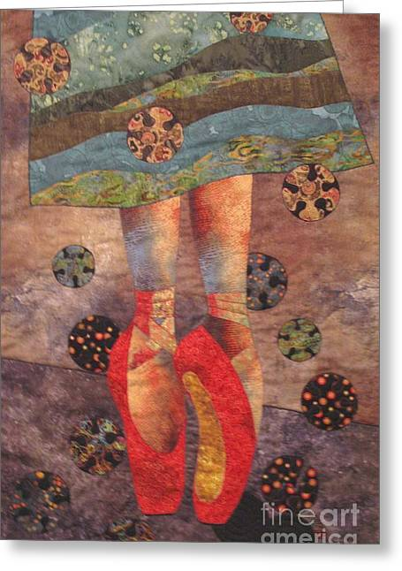 Dancer Tapestries - Textiles Greeting Cards - The Red Shoes Greeting Card by Lynda K Boardman