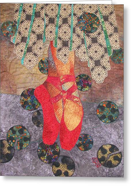 Christian Tapestries - Textiles Greeting Cards - The Red Shoes Revisited Greeting Card by Lynda K Boardman
