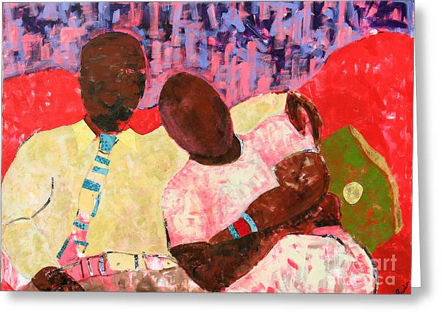 Blackart Greeting Cards - The Red Sofa Greeting Card by Paula Drysdale Frazell