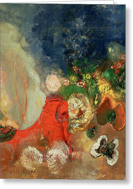 Redon Greeting Cards - The Red Sphinx Greeting Card by Odilon Redon