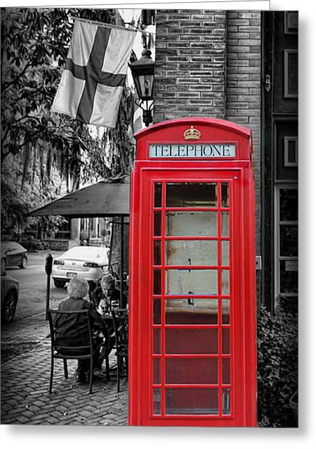 Twentieth Century Greeting Cards - The Red Telephone Box - Time for Tea III Greeting Card by Lee Dos Santos