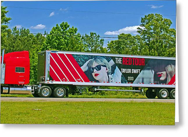 The Red Tour Truck Greeting Card by Andy Lawless