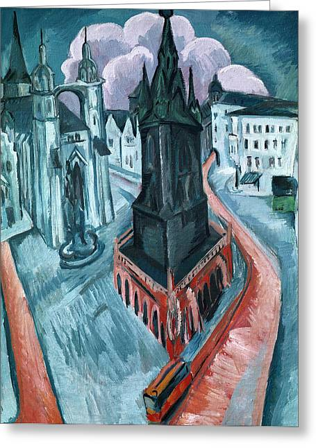 The Red Tower In Halle Greeting Card by Ernst Ludwig Kirchner