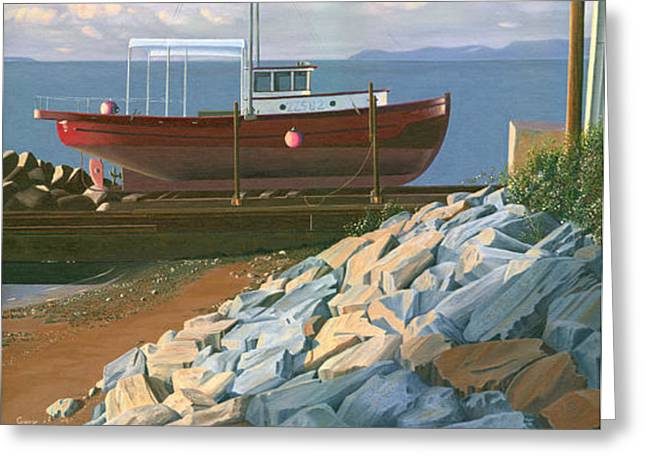 British Columbia Greeting Cards - The red troller revisited Greeting Card by Gary Giacomelli