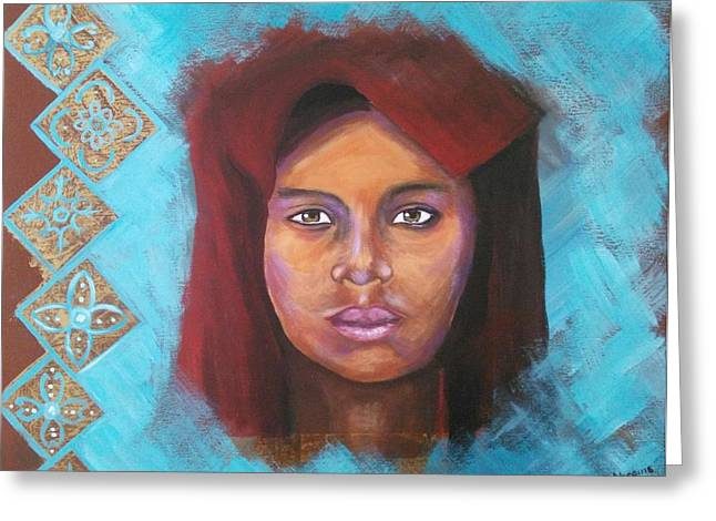 Northern Africa Paintings Greeting Cards - The red turban Greeting Card by Daniela Abrams