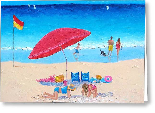 Ocean Art. Beach Decor Greeting Cards - The Red Umbrella beach painting Greeting Card by Jan Matson