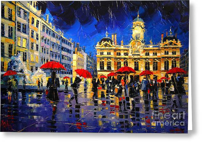 Colored Man Greeting Cards - The Red Umbrellas Of Lyon Greeting Card by Mona Edulesco