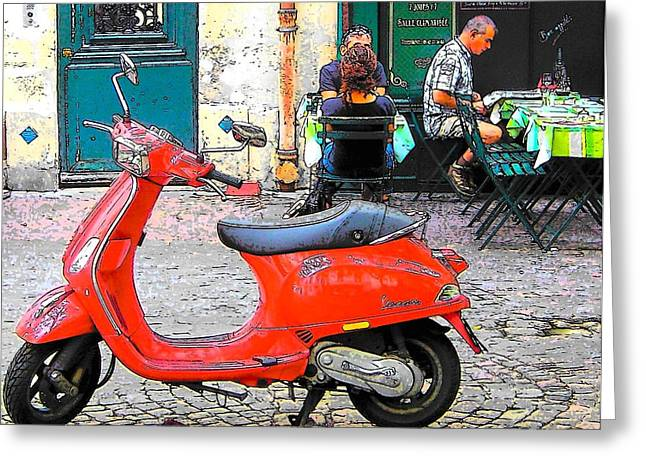 Street Scene Digital Art Greeting Cards - The Red Vespa in Paris Greeting Card by Jan Matson