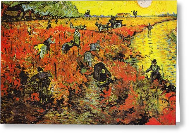 Vineyard Poster Greeting Cards - The Red Vineyard at Arles Greeting Card by Celestial Images