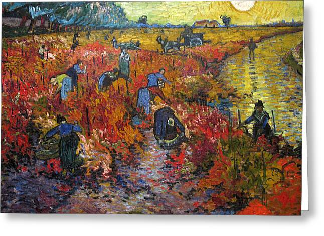 Vineyard Poster Greeting Cards - The Red Vineyard Greeting Card by Vincent van Gogh