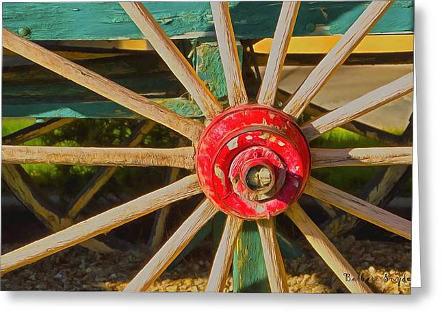 Spokes Paintings Greeting Cards - The Red Wagon Hub Greeting Card by Barbara Snyder